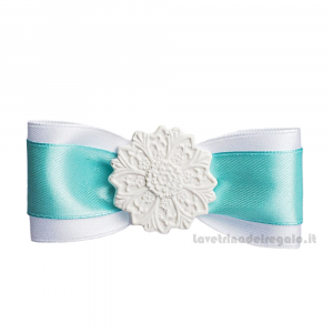 Tiffany and White Bow close package with Maiolica in chalk 3.5 inc - Wedding decorations