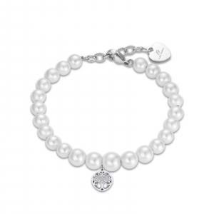 Luca Barra - Bracciale in acciaio con perle bianche e albero della vita